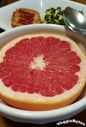 Half of a Rio Star Grapefruit