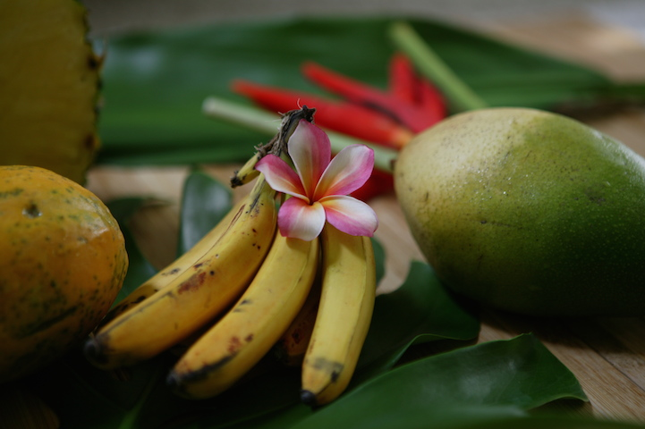 Plumeria with tropical fruit