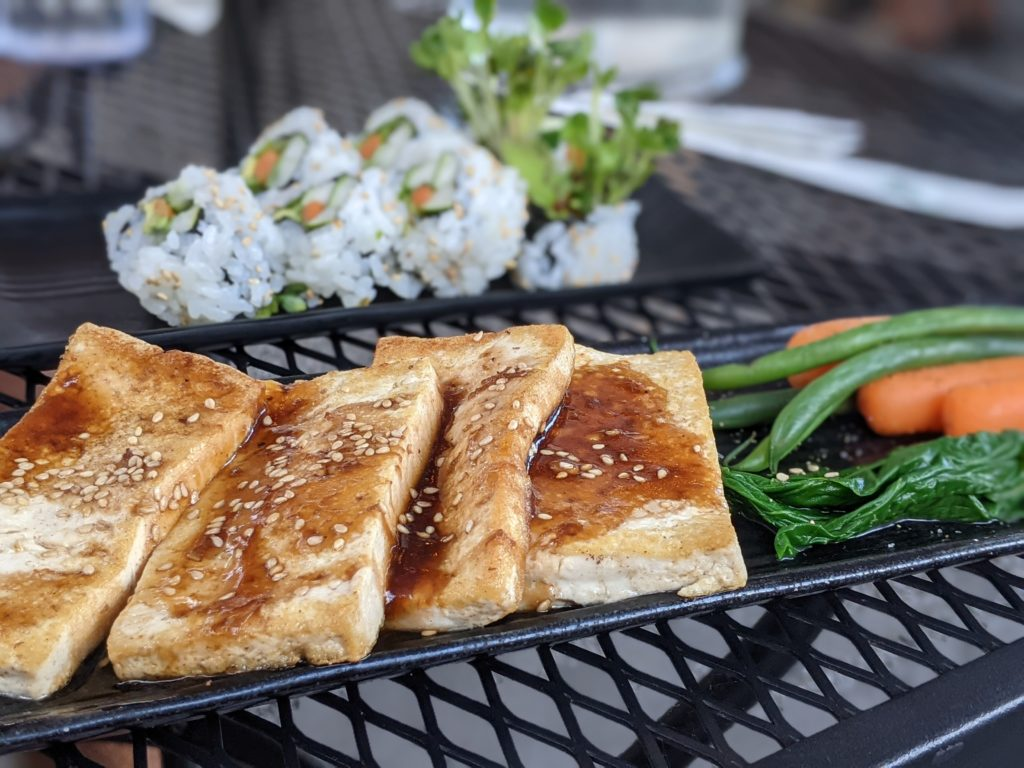 Japanese Grandma's seared tofu and vegetables. Vegan Kauai Eats