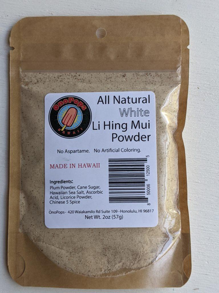 Li Hing Mui powder by Ono pops found at Papaya's Natural Foods Vegan Kauai Eats
